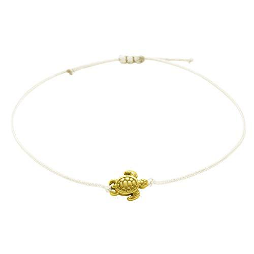 Armband Schildkröte Gold Beige - Größenverstellbar, Makramee Armbändchen - Textilarmband