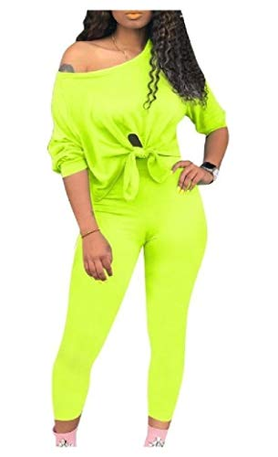 EnergyWomen Fashion Off Shoulder Cropped Tops Outwear and Pants Sets Green S (Cropped Green Pant Set)