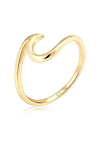 Elli Damen Ring mit Wellen Trendsymbol Strand Maritim in 925 Sterling Silber-Gold