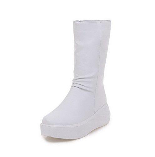 AllhqFashion Damen Mittler Absatz Weiches Material Reißverschluss Stiefel Weiß