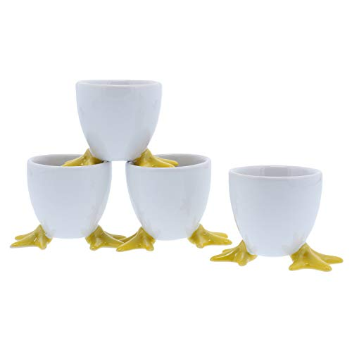 BIA Cordon Bleu White Chicken Footed Egg Cup with Yellow Feet, Set of 4 White-footed Bowl