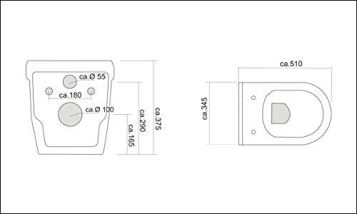 Wand Hänge WC mit WC-Sitz inkl. Soft-Close Weiss Keramik Toilette mit Nano-Beschichtung Tiefspüler passend zu GEBERIT - 6