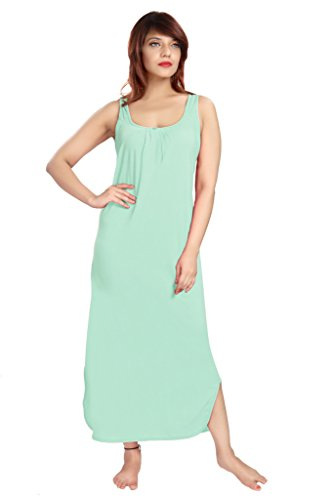 100% Cotton Women's Regular Fit Nighty Gown Slip in Light Green Color With Broad Strapes & Round Neck Night Inner Wear in Size M by City Girl PLUS  available at amazon for Rs.325