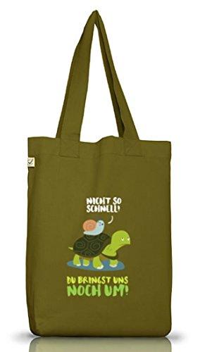 Turtle Jutebeutel Stoffbeutel Earth Positive mit Turbo Schildkröte Motiv Leaf Green
