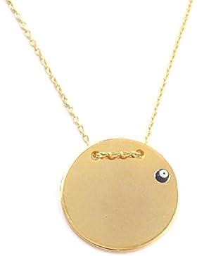 Halskette Kette Gravur Gravurplatte Gold Farbe Nazar Boncuk Magisches Auge Evil Eye