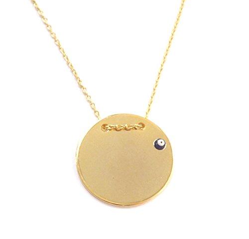 Remi Bijou Halskette Kette Gravur Gravurplatte Münze Scheibe Gold Farbe Nazar Boncuk Magisches Auge Evil Eye (Gold)