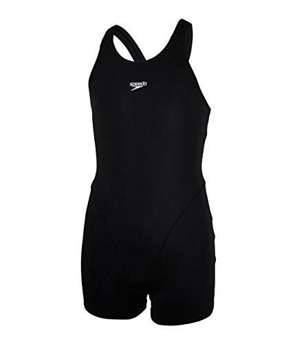 Speedo Mädchen Essential Endurance Plus Swimwear, Schwarz, 32 - Mädchen Badeanzug Bein
