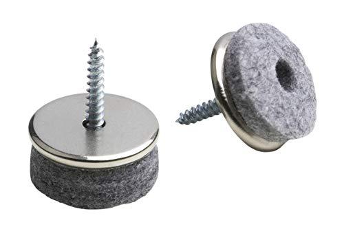 """Metafranc Filz-Gleiter \""""TopSoft\"""" Ø 24 mm - Mit Schraube - grau - 16 Stück - Effektiver Schutz Ihrer Möbel & Stühle / Möbelgleiter-Set für empfindliche Böden / Stuhlgleiter / Bodengleiter / 644356"""