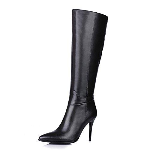 EKS Damen Spitzzähne Low High Heels Echtes Leder Knie Hohe Stiefel Schwarz 40 CN (Knie Stiefel Hohe Damen)