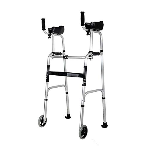 GLJY Doppelarm-Walker, Laufrahmen Leichter Aluminium-Walker, Faltbare Höhenverstellung mit 2 Rollen für Senioren - Walker Rest Sitz