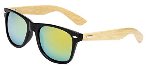 GoGou Holz Bambus-Sonnenbrille-Männer & Frauen klassische Retro-Stil (Gold) (Bambus-designer Schatten)