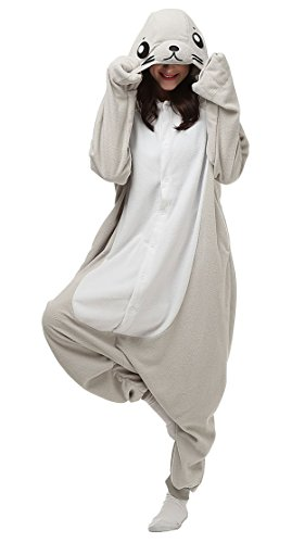 Aivtalk Tier Onesie Jumpsuits Kostüm Pyjama Schlafanzug Fasching Karneval Cartoon Cosplay Fleece-Overall Hausanzug Erwachsene Unisex Kigurumi Tieroutfit - Grau (Kostüme Frauen Lustige)
