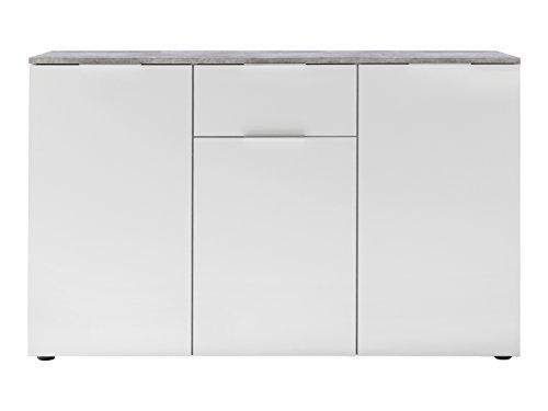 trendteam Wohnzimmer Sideboard Kommode Schrank Viva, 128 x 81 x 40 cm in Korpus Beton Stone Dekor, Front Weiß Hochglanz mit viel Stauraum