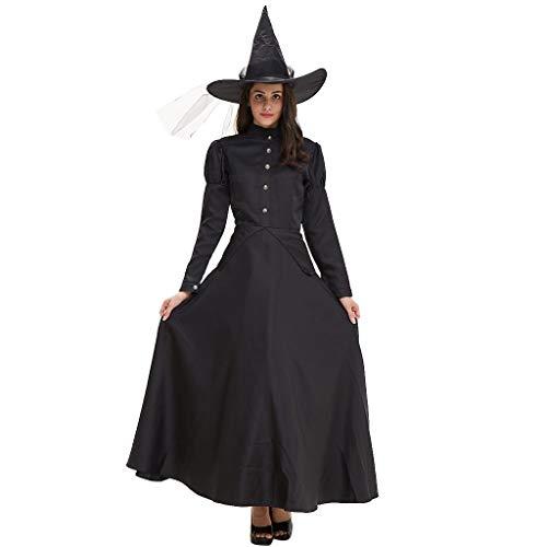 LOPILY Kostüme Damen Hexenkostüme Halloween mit Hut Schwarze Faschingskostüme Damen Karneval Kleidung Teufel Kostüme Gruselige Erwachsenenkostüme Cosplay Party (Kleid+Mütze) (Schwarz, 32) (Einfach Cosplay Kostüm Für Anfänger)