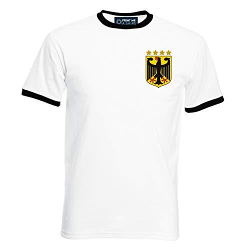 Maßgeschneidertes Fußball-T-Shirt für Herren, Retro, Deutschland Gr. XX-Large, weiß / schwarz