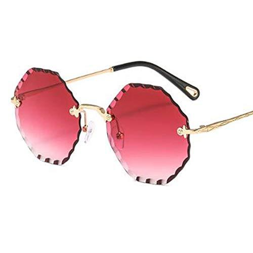 AAMOUSE Sonnenbrillen Mode rot achteckige Männer Frauen Sonnenbrillen,Sonnenbrillen, klare Linse randlose Sonnenbrille Street Style
