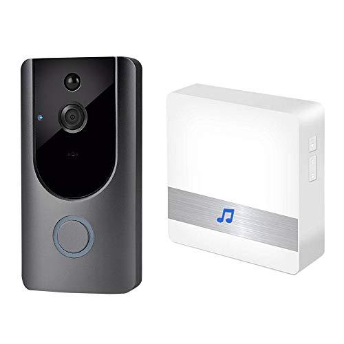 KOBWA Timbre de Video con Wi-Fi con Receptor de Timbre Inalámbrico, Cámara de Timbre HD de 720P, Detección de Movimiento PIR, Timbre de Video Inalámbrico con Visión Nocturna por Infrarrojos