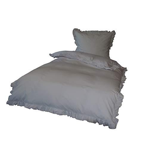 Krollmann 4-TLG. Bettwäsche Set Rüschen mit Reißverschluss aus 100% Baumwolle in Grau, Deckenbezug 135x200cm, Kissenbezug 80x80cm, Vintage-Stil Retro Style Rüschen Reißverschluss