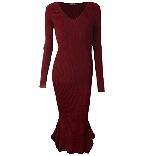 ZKOO Plus Size Female V-Neck Dress Fishtail Skirt Autumn Long-Sleeved Slim Fit Knit Dress