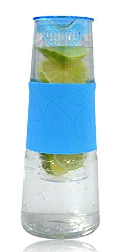 Jarra de vidrio con difusor azul ca. 1litro jarra con infusor de fru