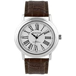 Montine Ladies Round White Dial Brown Leather Strap Watch Gift Boxed
