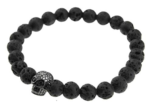 Stylesplus Herren Armband Kugelarmband dehnbar flexibel used look Lava Stein mit Totenkopf Skull in schwarz SP-A-518-3