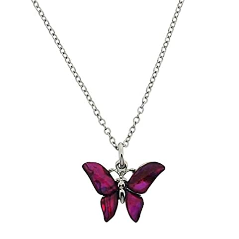 TOC Silvertone Pink Paua Shell Butterfly Pendant Necklace 16+2