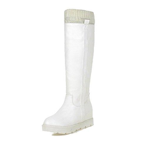 AllhqFashion Damen Knie Hohe Ziehen auf Blend-Materialien Mittler Absatz Rund Zehe Stiefel, Weiß, 34