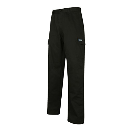 Goodyear classico regular fit, pantaloni cargo in poliestere/cotone, Size 42/42, Black/Royal Blue, 1