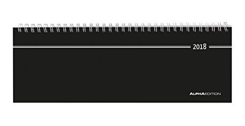 Produktbild Tisch-Querkalender schwarz 2018 - Bürokalender / Tischkalender (28,5 x 10) - 1 Woche 2 Seiten