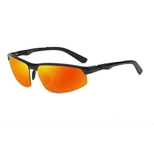 Jinxiaobei Herren Sonnenbrillen Sport-Sonnenbrille mit farbigen Gläsern Semi-Rimless Wrap Around Sport-Sonnenbrille mit farbigen Gläsern for Herren (Color : Orange)