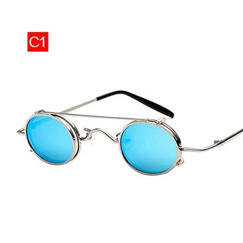 YLNJYJ Sonnenbrillen Kleine Runde Steampunk Sonnenbrille Männer Vintage Metall Punk Clip Auf Sonnenbrille Maleretro Brillen Eyewear Steampunk Goggles