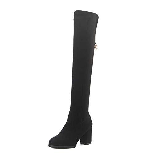 Mamrar Coscia Alta Boot Knight Boot Donna Moda Round Toe 8 Centimetri Chunkly Tacco Pearl Deco Moto Stivali OL Partito Vestito Scarpe EU Dimensioni 35-39,Black,37EU