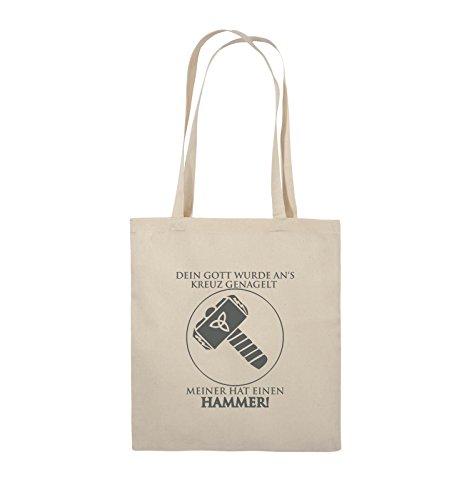 Comedy Bags - DEIN GOTT KREUZ - MEINER HAMMER - Jutebeutel - lange Henkel - 38x42cm - Farbe: Schwarz / Pink Natural / Grau