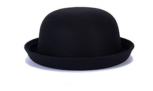 Swallowuk Damen Vintage Mode Wolle Hut Netter Bowler Hats (Schwarz)