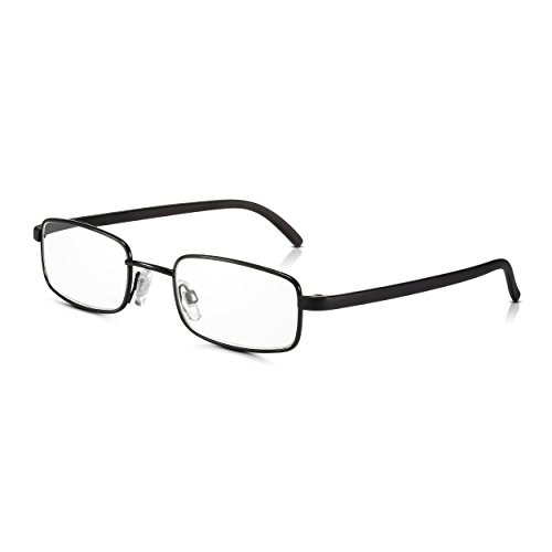 Read Optics Black Frame Clear Lense Gläser: Metall-Lupenbrille zum Lesen mit Premium-Rezept Difuzer...