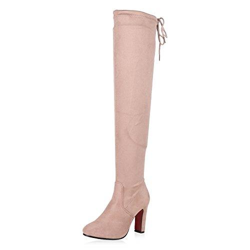 Damen Schuhe Stiefel Leicht Gefütterte Overknees Rote Sohle Rosa 37