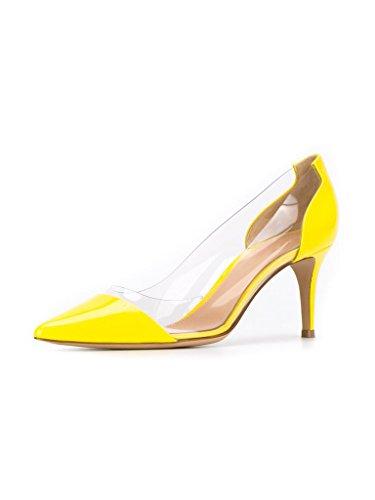 EDEFS - Scarpe col Tacco Donna - Tacco Gattino - Trasparente Scarpe Giallo