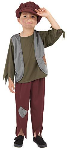 Smiffys Kinder Viktorianischer Armer Junge Kostüm, Oberteil, Hose und Mütze, Größe: M, - Im Viktorianischen Zeitalter Kostüm