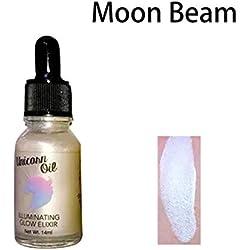 Aceite iluminador de unicornio con purpurina líquida, resaltador brillante para la cara, corrector, maquillaje, para mujer