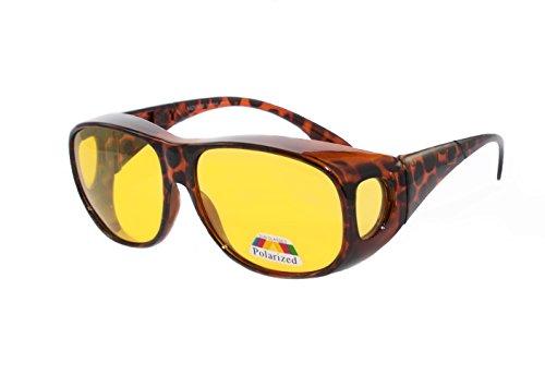 Rainbow EyeDefend Sonnenbrillen für Brillenträgen Überzieh-Sonnenbrille für Brillenträger Schutzbrille für Sport Radfahren Skifahren Angeln Auto Überbrillen / Polarisierte Gläser / RWN10 (Night Turtle)