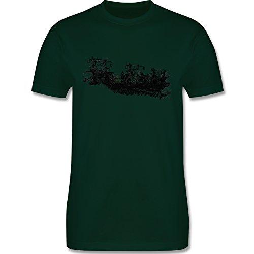 Landwirt - Traktoren Wiese - Herren Premium T-Shirt Dunkelgrün