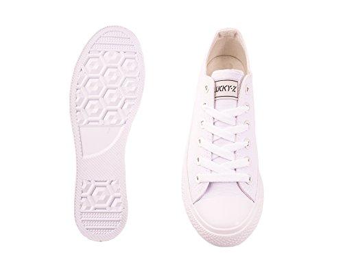 Elara Unisex Sneaker | Bequeme Sportschuhe für Herren und Damen | Low Top Turnschuh Textil Schuhe 36-46 All White