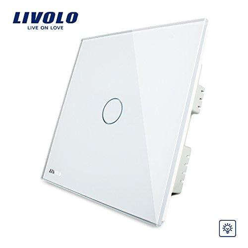Livolo, Touch Schalter, UK Standard, vl-c301d-61, weiß Kristall-Glas Panel, Wandleuchte Touch Screen Dimmer Schalter -