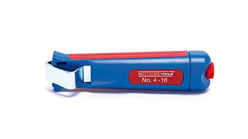 WEICON 50050116 Kabelmesser No. 4-16, Abisolierwerkzeug zum Entmanteln von Rundkabel, Blau/Rot, 140mm