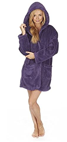 Ladies Snuggle Fleece Coatigan Gown Robe With Buttons, Size 8-22,