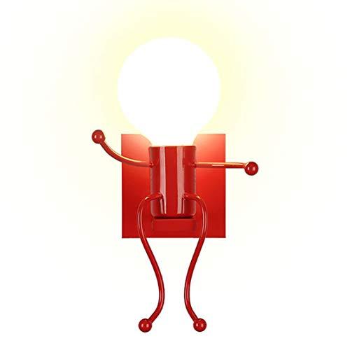YOXANG 40W LED Wandleuchte Moderne Kreativ Nachttischlampe Wände Dekorieren Metall Karikatur Mini-Puppe Anwendbar auf Schlafzimmer Flur Wohnzimmer Küche Stilvolles Wandlampe E27 (Rot)