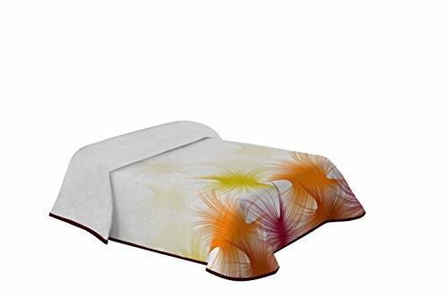 Eysa 200 cm Poly Cotton Printed Pike Bed Spread, Orange