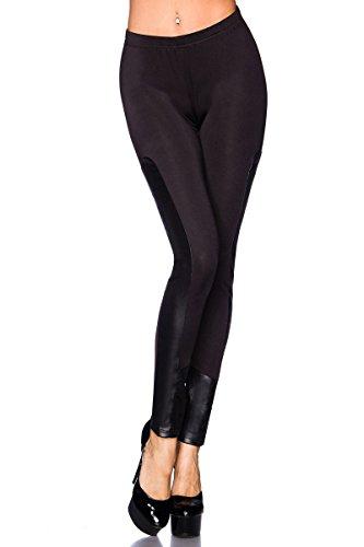 AT Leggings Klaudia mit Ledereinsatz Damen Hose Stretchhose in braun oder schwarz Schwarz