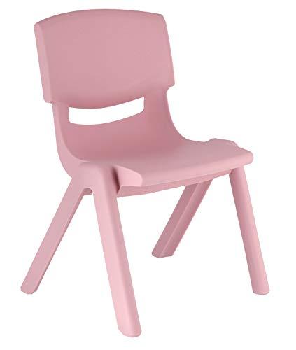 Bieco 04201807 Kinderstuhl aus Kunststoff, circa 36 x 34 x 51.5 cm, Stuhl aus Plastik, stapelbar, rosa